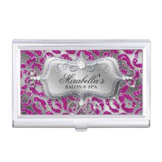 Nail Salon Leopard Glitter Monogram Modern Frame Business Card Holder