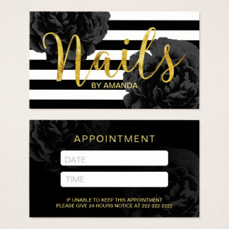 Nail Salon Modern Stripes Black Floral Appointment Business Card