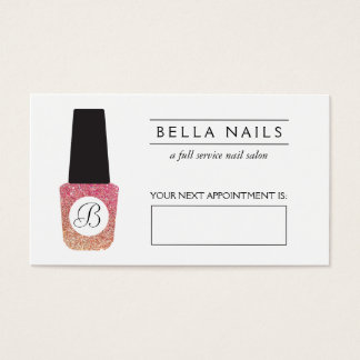 Nail Salon Monogram Bronze Glitter Appointment Business Card