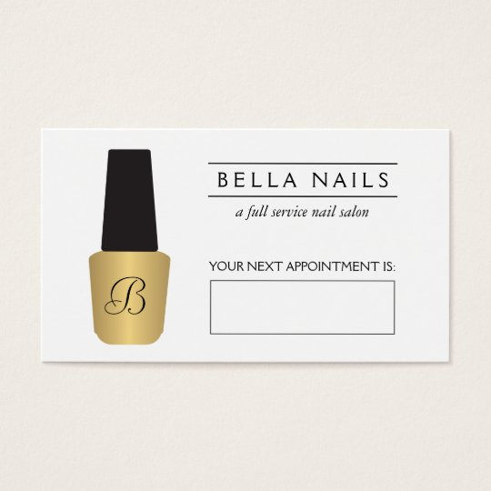 Nail Salon Monogram Faux Gold Polish Appointment Business