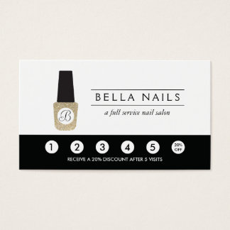 Nail Salon Monogram on Gold Glitter - Loyalty Card