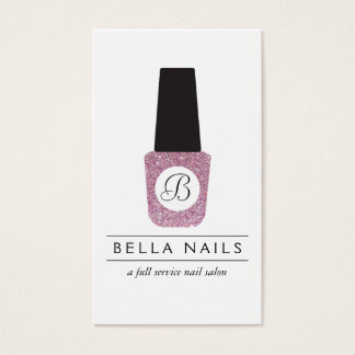 Nail Salon Monogram on Pink Glitter Nail Polish Business Card