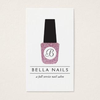 Nail Salon Monogram on Pink Glitter Nail Polish Business Card