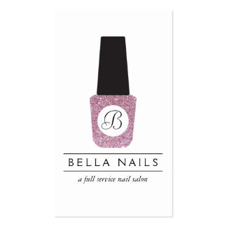 Nail Salon Monogram on Pink Glitter Nail Polish Pack Of Standard Business Cards