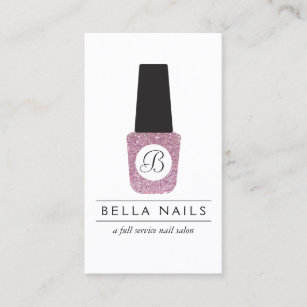 Nail business cards zazzle uk nail salon monogram on pink glitter nail polish business card colourmoves