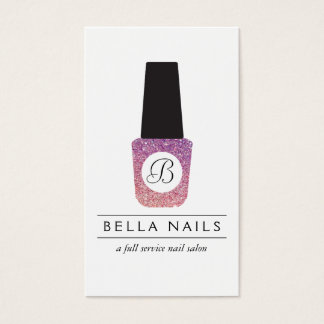 Nail Salon Monogram on Purple Glitter Nail Polish Business Card