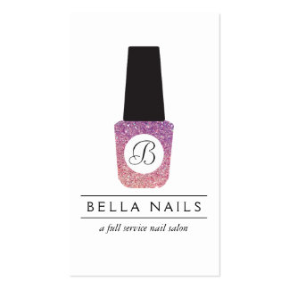 Nail Salon Monogram on Purple Glitter Nail Polish Pack Of Standard Business Cards