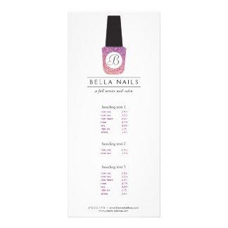 Nail Salon Monogram on Purple Glitter Nail Polish Rack Card