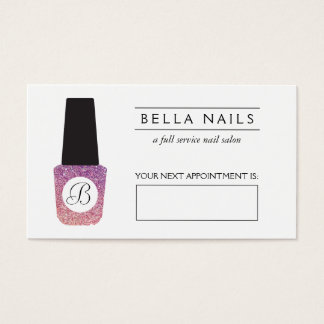 Nail Salon Monogram Purple Glitter Appointment