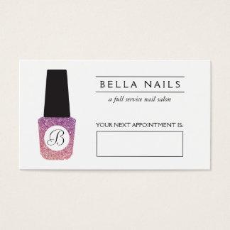 Nail Salon Monogram Purple Glitter Appointment Business Card