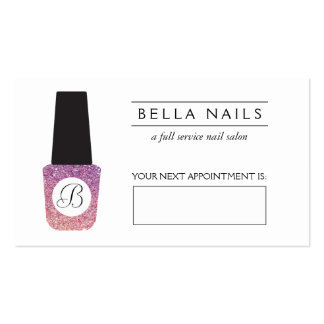 Nail Salon Monogram Purple Glitter Appointment Pack Of Standard Business Cards