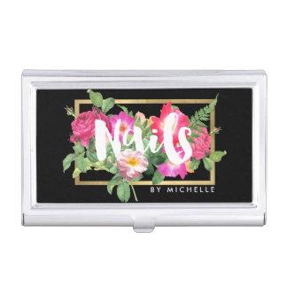 Nail Salon, Nail Artist Floral Script Text Black Case For Business Cards