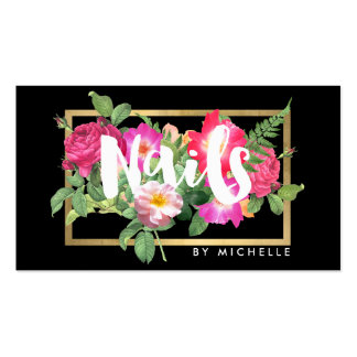 Nail Salon, Nail Artist Floral Script Text Black Pack Of Standard Business Cards