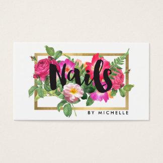 Nail Salon, Nail Artist Floral Script Text White Business Card