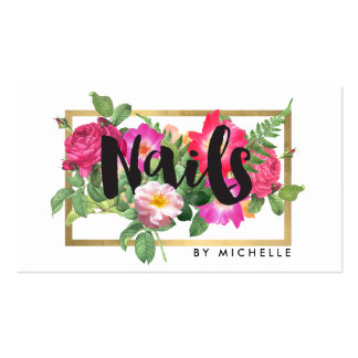 Nail Salon, Nail Artist Floral Script Text White Pack Of Standard Business Cards