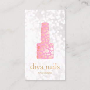 Nail business cards business card printing zazzle uk nail salon pink nail white bokeh manicurist business card reheart Image collections