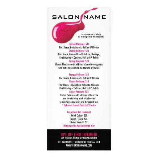 nail salon price list rack cards zazzle. Black Bedroom Furniture Sets. Home Design Ideas