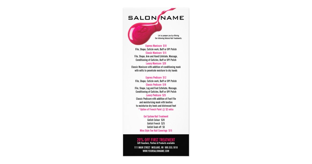 Nail salon price list rack cards for A list nail salon