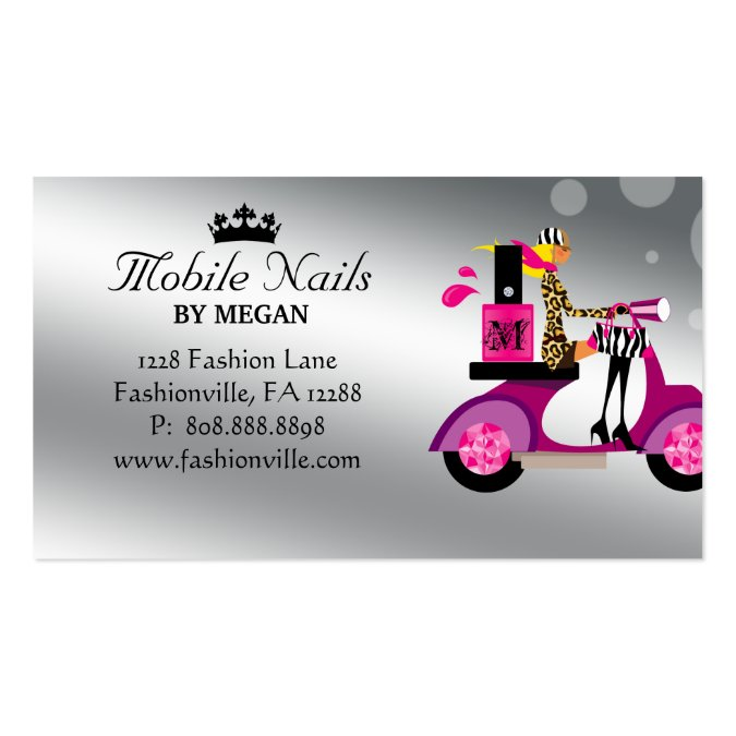 Fashion Nail Salon And Beauty Spa Games For Girls: Nail Salon Scooter Girl Fashion Business Card Blon