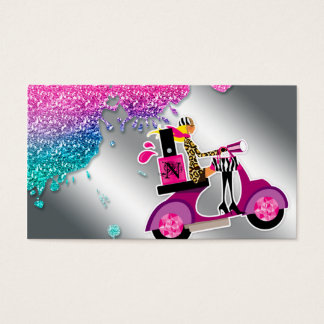 Nail Salon Scooter Girl Glitter Polish Swirls Business Card
