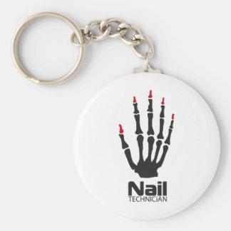 Nail technician basic round button key ring