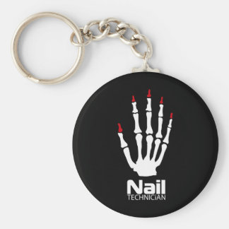 Nail technician basic round button key ring