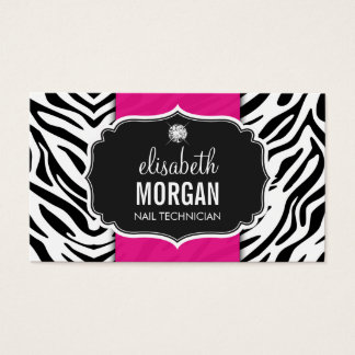 Nail Technician - Beautiful Zebra Print Business Card