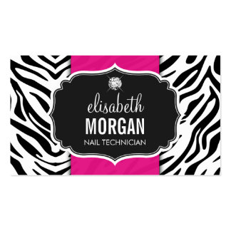 Nail Technician - Beautiful Zebra Print Pack Of Standard Business Cards
