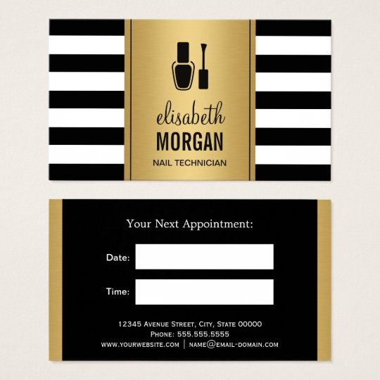 NAIL TECHNICIAN Black Gold Stripes Appointment Business Card