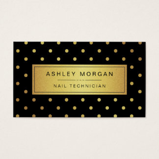 Nail Technician - Black White Gold Dots Business Card