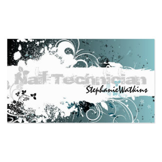 Nail Technician Business Card Grunge Splatter Teal