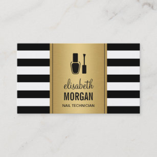 Nail technician business cards business card printing zazzle uk nail technician elegant gold black white stripes business card reheart Gallery