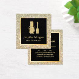 Nail technician business cards business card printing zazzle uk nail technician gold glitter polish bottle square business card reheart Gallery