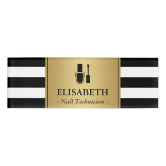 Nail Technician Logo Gold Black White Stripes Name Tag