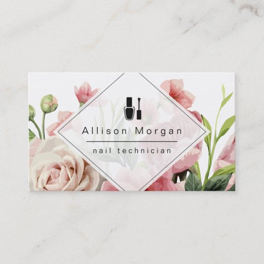 Nail technician logo modern geometric chic floral business card nail technician logo modern geometric chic floral business card reheart Gallery