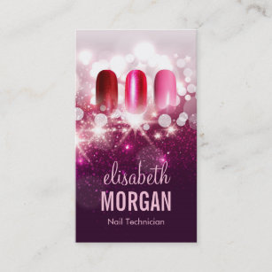 Nail technician manicurist business cards zazzle uk nail technician manicurist pink beauty glitter business card reheart Images