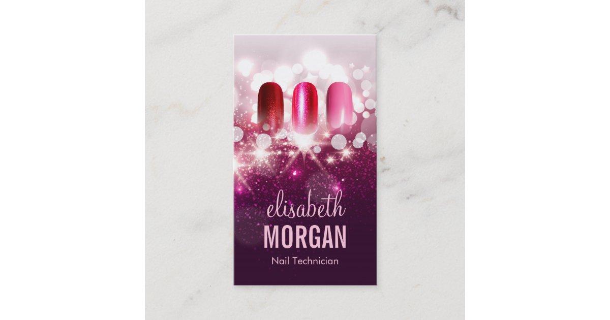Nail Technician Manicurist - Pink Beauty Glitter Business Card