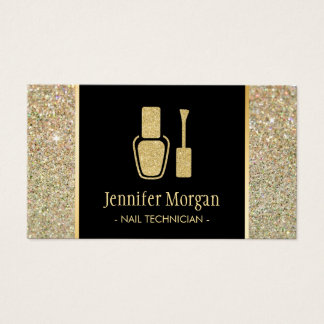 Nail Technician Modern Gold Glitter Polish Bottle Business Card