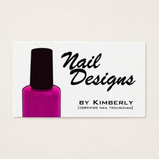 Nail Technician Pink Polish Business Cards