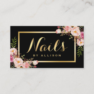 Nail technician business cards business card printing zazzle uk nail technician salon black gold floral script business card reheart Gallery