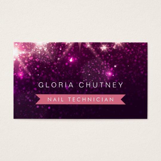 Nail Technician - Trendy Pink Glitter Business Card