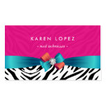 Nail Technician - Trendy Pink Zebra Print Pack Of Standard Business Cards