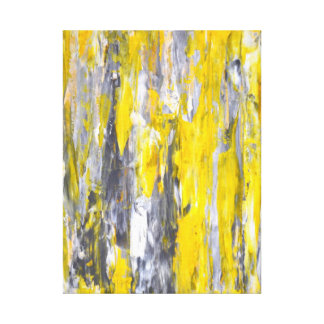 'Nailed It' Grey and Yellow Abstract Art Canvas Prints