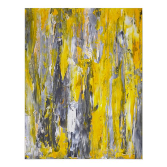 'Nailed It' Grey and Yellow Abstract Art Poster