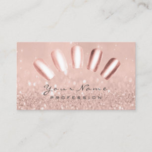 Nails Art Glitter Skinny Pastel Pink Rose Gold Business Card