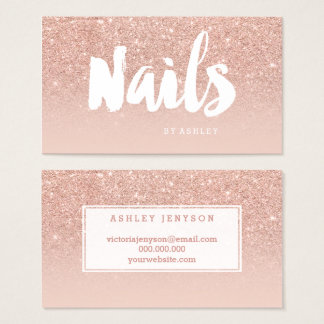 Nails artist modern typography blush rose gold