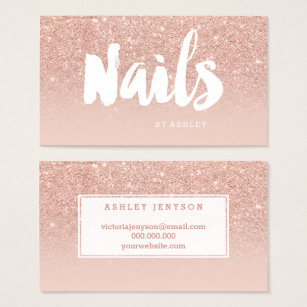 Nail business cards business card printing zazzle uk nails artist modern typography blush rose gold business card colourmoves Image collections