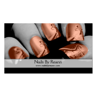 Nails By Reann (Orange Nails) Business Card Templates