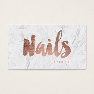 Nails chic modern rose gold typography marble business card