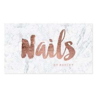 Nails chic modern rose gold typography marble pack of standard business cards